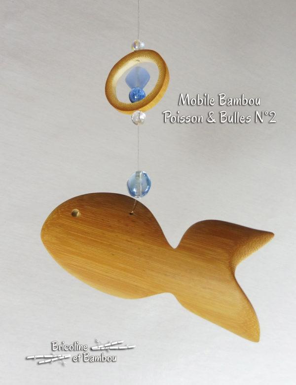 """Mobile Bambou """"Poisson & bulles"""" N°2"""